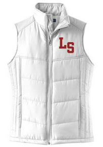 LSB05 Port Authority® Ladies Puffy Vest (WHITE) with embroidered left chest LS Logo