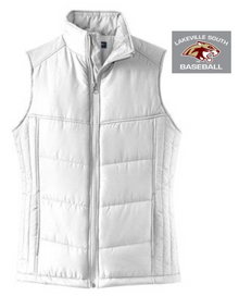 LSB04Port Authority® Ladies Puffy Vest (WHITE) with embroidered left chest South Baseball Logo