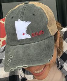 LSCT16 Black Distressed Baseball Cap with Minnesota Star South Logo