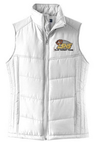 LSCT06 Port Authority® Ladies Puffy Vest (WHITE) with embroidered left chest CLAY TARGET TEAM Logo