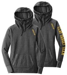 LSCT05 New Era® Ladies Tri-Blend Fleece Pullover Hoodie (BLACK HEATHER)  with Metallic SOUTH Logo on shoulder