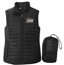LSCT08 Port Authority ®  LADIES Packable Puffy Vest (BLACK) with embroidered left chest CLAY TARGET TEAM Logo