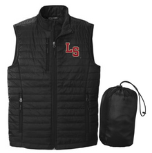 LSB09 Port Authority ®  UNISEX Packable Puffy Vest (BLACK) with embroidered left chest LS Logo
