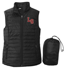 LSB07 Port Authority ®  LADIES Packable Puffy Vest (BLACK) with embroidered left chest LS Logo