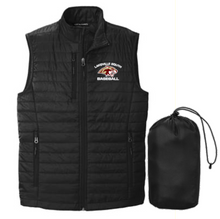 LSB08 Port Authority ®  UNISEX Packable Puffy Vest (BLACK) with embroidered left chest Lakeville South Baseball Logo