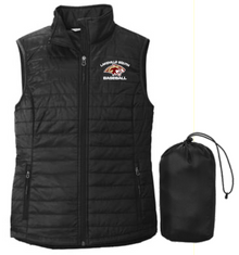 LSB06 Port Authority ®  LADIES Packable Puffy Vest (BLACK) with embroidered left chest Lakeville South Baseball Logo