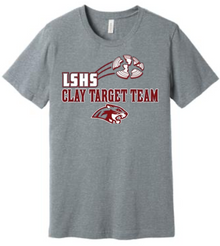 LSCT01 Unisex  Grey Bella+Canvas Ring Spun Jersey Short Sleeve Shirt with LSHS CLAY TARGET TEAM Screenprint Logo