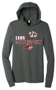 LSCT02 BELLA+CANVAS ® DEEP HEATHER GREY Unisex Jersey Long Sleeve Hoodie with LSHS CLAY TARGET TEAM Screenprint Logo