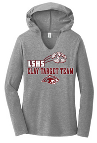 LSCT03 District ® GREY FROST Women's Perfect Tri ® Long Sleeve Hoodie with LSHS CLAY TARGET TEAM Screenprint Logo