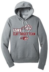 LSCT04 BELLA+CANVAS ® Athletic Heather Grey Unisex Sponge Fleece Pullover Hoodie with LSHS CLAY TARGET TEAM Screenprint Logo