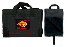 LSB14 BLACK Water Resistant Nylon Blanket with Embroidered Lakeville South Cougars Logo