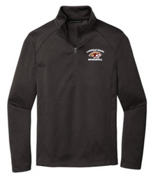 LSB11 Port Authority ® Dark Charcoal Heather Diamond Heather Fleece 1/4-Zip Pullover with embroidered Left Chest Lakeville South Baseball Logo