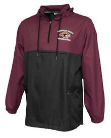 LSB12 Maroon and Black Colorblock Anorak Hooded 1/4-Zip Pullover (windproof and water resistant) with embroidered Left Chest Lakeville South Baseball Logo