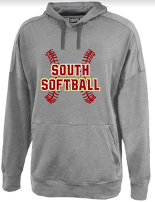 *TEAM OPTION* LSSB01 PENNANT FLEX HOODIE - Carbon Gray  with South Softball Screenprinted Logo Full Front