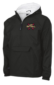 LSSB05A Charles River Wind & Water-resistant Pullover 1/4 Zip Jacket (BLACK) with Embroidered Left Chest LSHS Softball Logo