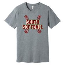 LSSB03 Bella+Canvas ® Unisex Jersey Short Sleeve Tee (Athletic Heather Grey) with Full Front LSHS SOFTBALL Screen printed logo
