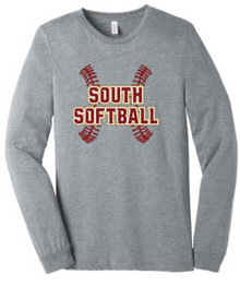 LSSB04 Bella+Canvas ® Unisex Jersey Long Sleeve Tee (Athletic Heather Grey) with Full Front LSHS SOFTBALL Screen printed logo