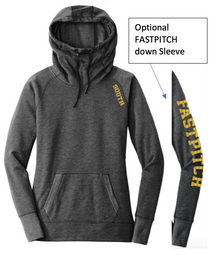 LSSB10 New Era® Ladies Tri-Blend Fleece Pullover Hoodie (BLACK HEATHER)  with Metallic SOUTH Logo on shoulder