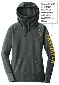BFP02 New Era® Ladies Tri-Blend Fleece Pullover Hoodie (BLACK HEATHER)  with BLAZE Logo on shoulder