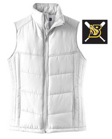BFP09 Port Authority® Ladies Puffy Vest (WHITE) with embroidered left chest BLAZE Fastpitch Logo