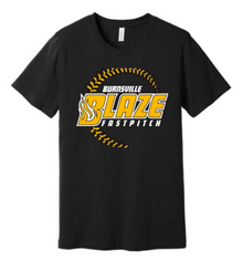 BFP07B (YOUTH & ADULT) Bella +Canvas ® Unisex Jersey Short Sleeve Tee (BLACK) with Full Front Burnsville Blaze Fastpitch Screen printed logo