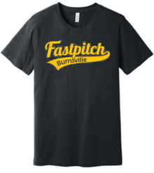 BFP04 (YOUTH & ADULT) Bella+Canvas ® Unisex Jersey Short Sleeve Tee (Dark Heather Grey) with Full Front Burnsville Fastpitch Metallic Gold logo