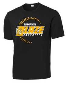 BFP05SS (YOUTH & ADULT) Sport-Tek® Unisex Moisture Wicking Performance Short Sleeve Tee (BLACK) with Full Front Burnsville Blaze Fastpitch Screen printed logo