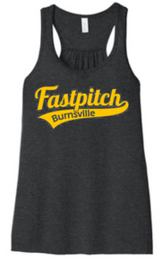 BFP03 BELLA+CANVAS ® Women's Flowy Racerback Tank (Dark Grey Heather) with Full Front Burnsville Fastpitch Metallic Gold logo