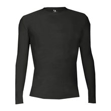 BFP08 (YOUTH & ADULT) BADGER Black Long Sleeve Compression Crew Neck Shirt (NO LOGO)