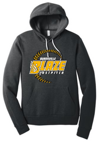 BFP07S (Youth and Adult) BELLA+CANVAS ® Unisex Sponge Fleece Pullover Hoodie (Dark Grey Heather) with Burnsville BLAZE Fastpitch Screen Printed Logo Full Front