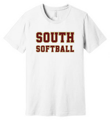 LSSB14W Bella+Canvas ® Unisex Jersey Short Sleeve Tee (WHITE) with Full Front SOUTH SOFTBALL Screen printed logo