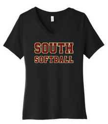 LSSB15B Bella+Canvas ® Women's Relaxed Jersey Short Sleeve V-Neck Tee (BLACK) with Full Front SOUTH SOFTBALL Screen printed logo