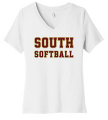 LSSB15W Bella+Canvas ® Women's Relaxed Jersey Short Sleeve V-Neck Tee (WHITE) with Full Front SOUTH SOFTBALL Screen printed logo