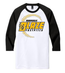 BFP06 District ® UNISEX Perfect Tri ® 3/4-Sleeve Raglan (White with Black Sleeves) with Full Front Burnsville Blaze Fastpitch Screen printed logo