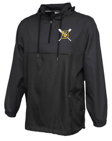 BFP12 Black Anorak Hooded 1/4-Zip Pullover (windproof and water resistant) with embroidered Left Chest Burnsville Fastpitch Logo