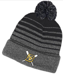 BFP16 Black and Gray Gradient Knit Hat with Embroidered Burnsville Fastpitch Logo