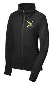 BFP13 Sport-Tek® Ladies Sport-Wick® Stretch Full-Zip Jacket (BLACK) with Embroidered Burnsville Fastpicth Logo