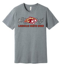 BAND01G (Youth and Adult) Bella+Canvas ® Unisex Jersey Short Sleeve Tee (Athletic Heather Grey) with Full Front Lakeville South Band Screen printed logo
