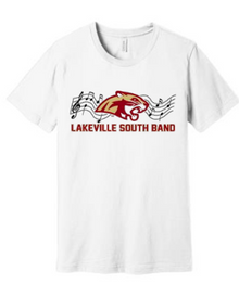 BAND01W (Youth and Adult) Bella+Canvas ® Unisex Jersey Short Sleeve Tee (WHITE) with Full Front Lakeville South Band Screen printed logo