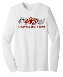 BAND02 Bella+Canvas ® Unisex Jersey Long Sleeve Tee (WHITE) with Full Front Lakeville South Band Screen printed logo