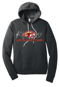 BAND03 (Youth and Adult) BELLA+CANVAS ® Unisex Sponge Fleece Pullover Hoodie (Dark Grey Heather) with Lakeville South Band Screen Printed Logo Full Front