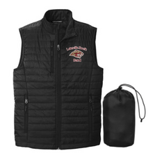 BAND19 Port Authority ®  UNISEX Packable Puffy Vest (BLACK) with embroidered left chest Lakeville South Band Logo