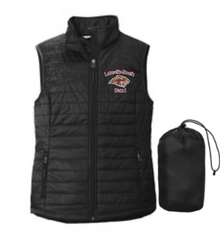 BAND18 Port Authority ®  LADIES Packable Puffy Vest (BLACK) with embroidered left chest Lakeville South Band Logo