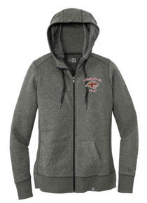 BAND15 Black Twist New Era® Ladies French Terry Full-Zip Hoodie with Embroidered Lakeville South Band Logo