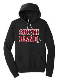 BAND08 (Adult & Youth) Bella+Canvas ® Unisex Sponge Fleece Pullover Hoodie (BLACK) with Full Front SOUTH BAND Screen printed logo (OPTIONAL BACK LOGO)