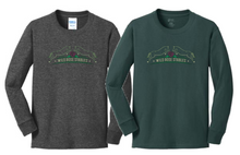 Port & Company® (Youth) Long Sleeve Core Cotton Tee (Dark Green or Dark Heather Grey) with 3 color Screen Printed Logo Full Front