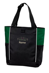 Port Authority® Panel Tote  Black with Green accent with embroidered Wild Rose logo