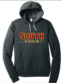 (Youth and Adult) BELLA+CANVAS ® Unisex Sponge Fleece Pullover Hoodie (Dark Grey Heather) with Lakeville South Choir Screen Printed Logo Full Front