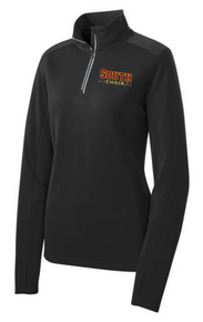 Sport-Tek® Ladies Sport-Wick® Textured 1/4-Zip Pullover (BLACK) with left chest South Choir embroidered logo