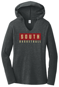 03 District ® Perfect Tri ® LADIES Long Sleeve Hoodie (BLACK FROST) with SOUTH BASKETBALL Full Front Screen printed logo